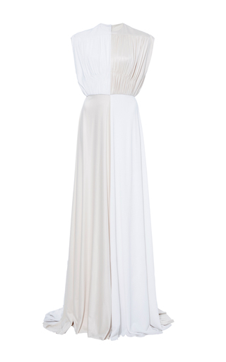 Medium derek lam white silk jersey draped gown
