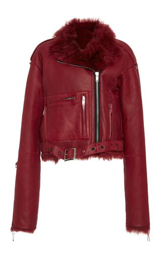 Medium r13 denim red sac oversized shearling motorcycle jacket
