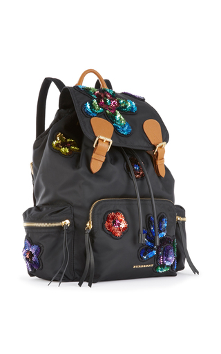 Floral Embroidered Back Pack by BURBERRY Now Available on Moda Operandi