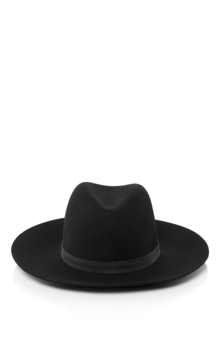 Medium janessa leone black mira fedora hat