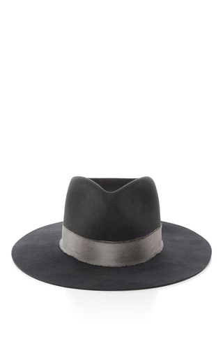 Medium janessa leone dark grey cherina fedora hat