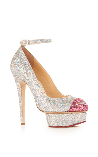 Medium charlotte olympia silver kiss me dolores ankle strap heel
