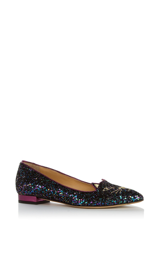 Medium charlotte olympia navy glitter mid century kitty flat