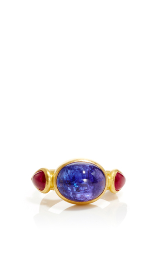 Medium sanjay kasliwal blue universal tanzanite and ruby ring