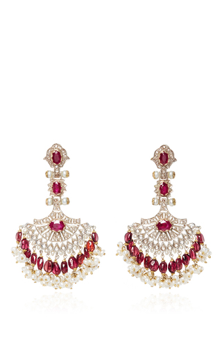 Pearl And Ruby Chandelier Earrings by SANJAY KASLIWAL Now Available on Moda Operandi