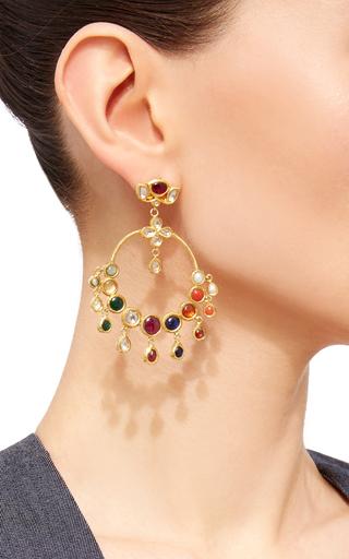 Raj Navratna Chandelier Earrings by SANJAY KASLIWAL Now Available on Moda Operandi