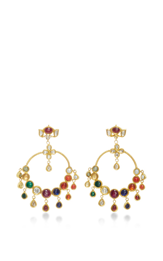 Medium sanjay kasliwal multi raj navratna chandelier earrings