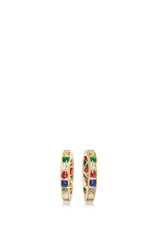 Raj Navratna Hoop Earrings by SANJAY KASLIWAL Now Available on Moda Operandi