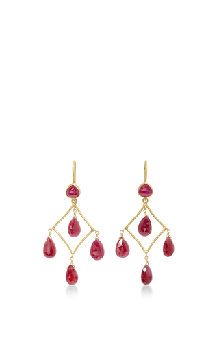 Medium sanjay kasliwal red ruby chandelier earrings