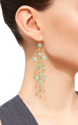 Chrysophase Drop Earrings by SANJAY KASLIWAL Now Available on Moda Operandi