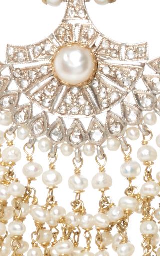 Pearl And Diamond Earrings by SANJAY KASLIWAL Now Available on Moda Operandi