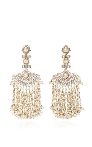 Medium sanjay kasliwal white pearl and diamond earrings