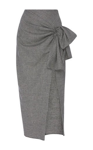 Medium sophie theallet light grey imaan cashmere tie skirt