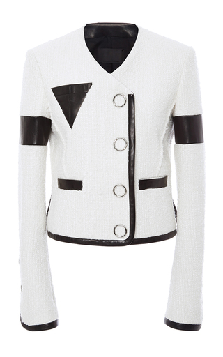 Medium alexander wang ivory slubbed tweed triangle pocket jacket