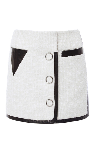 Medium alexander wang ivory slubbed tweed triangle pocket mini skirt