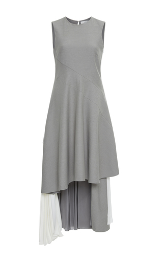 Medium adeam light grey stretch suiting cascade bustle dress