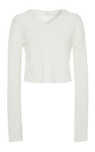 Medium adeam white white cashmere basketweave sweater