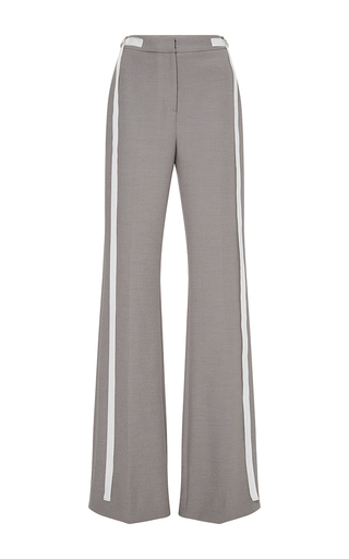 Medium adeam light grey stretch suiting flared tie trousers