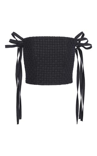 Medium adeam navy denim basketweave bustier top