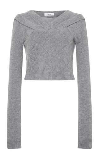 Medium adeam light grey grey cashmere basketweave sweater