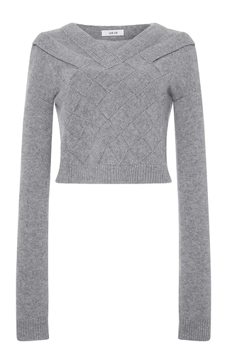 Medium adeam light grey grey cashmere basketweave sweater