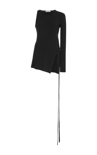 Medium adeam black black ribbed asymmetrical top