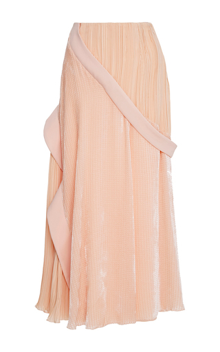 Medium adeam pink burnout velvet pleated skirt