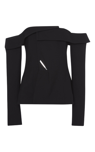 Medium adeam black black twill deconstructed blazer