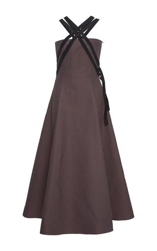 Medium adeam stripe chevron suiting harness a line dress