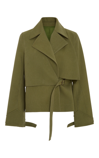 Medium rosie assoulin green yippee ki yay layered trench coat