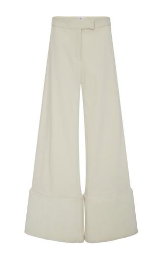 Medium rosie assoulin white wide legged furry cuff shearling pant
