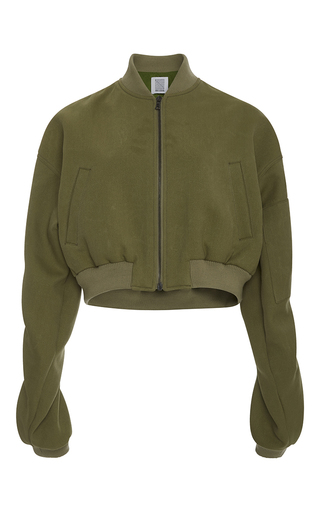 Medium rosie assoulin green cropped bomber jacket