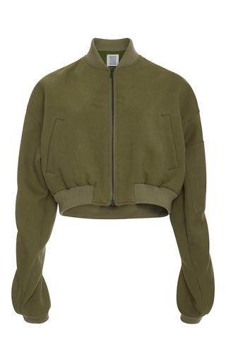 Medium rosie assoulin green cropped bomber jacket