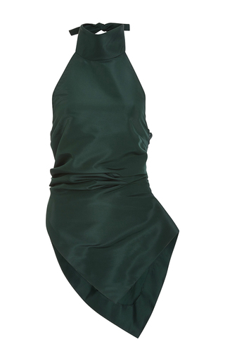 Medium rosie assoulin green silk faille turtleneck halter top