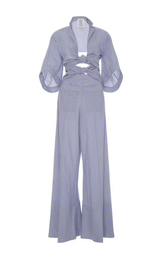 Medium rosie assoulin blue knotty by nature bow jumpsuit