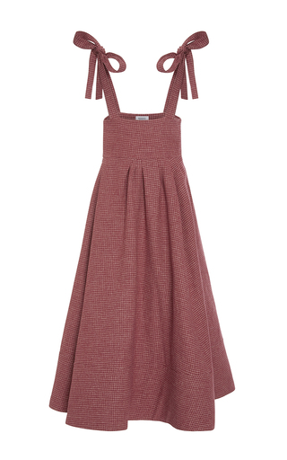 Medium rosie assoulin red suspender skirt and bandeau set