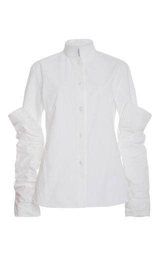 Medium rosie assoulin white stretch armstrong button down shirt