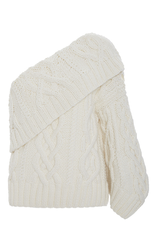Medium rosie assoulin neutral one shoulder cable knit