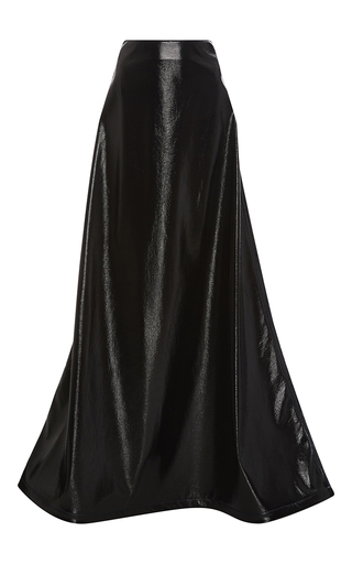 Medium rosie assoulin black crater faux leather maxi skirt