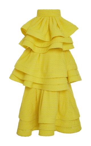 Medium rosie assoulin yellow tiered zippered skirt  2