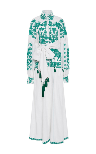 Medium yuliya magdych white letopis long sleeve maxi dress