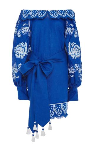 Medium yuliya magdych blue gzhel off the shoulder dress