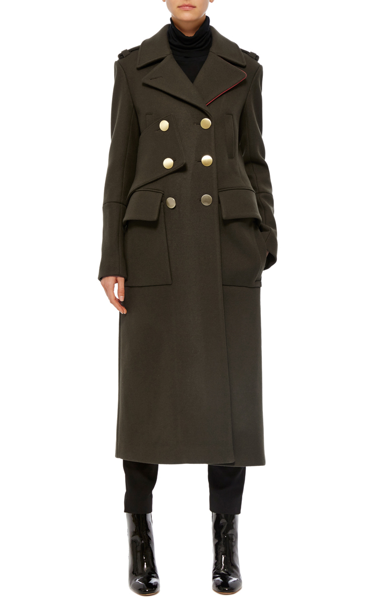 Olive Maxi Length Wool Coat by Tibi | Moda Operandi