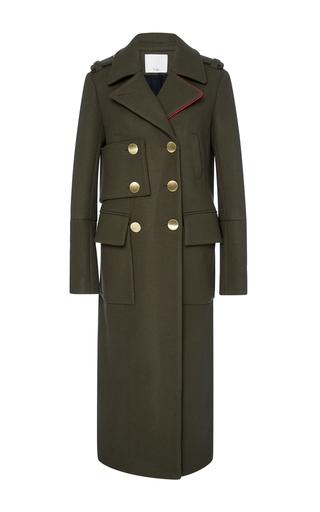 Medium tibi olive olive maxi length wool coat