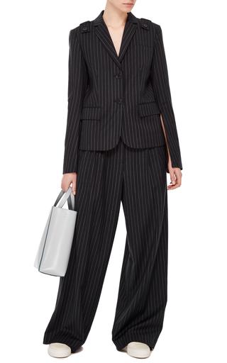 Pinstripe Twill Wide Leg Pant by TIBI Now Available on Moda Operandi