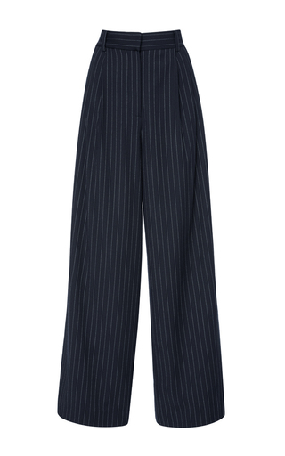 Medium tibi navy pinstripe twill wide leg pant