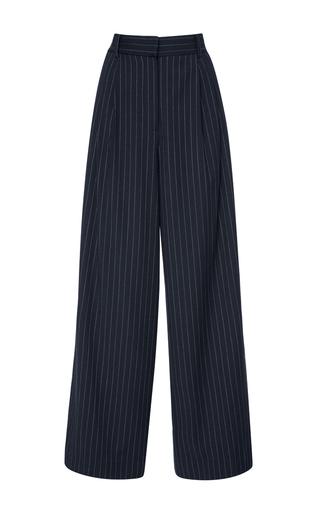 Medium tibi navy pinstripe twill wide leg pant