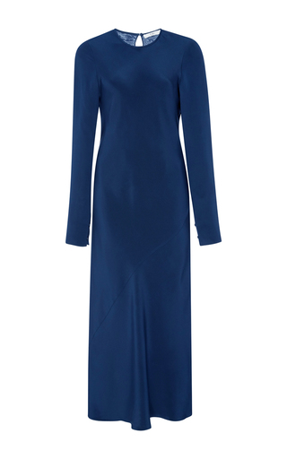 Medium tibi navy bias crepe keyhole dress