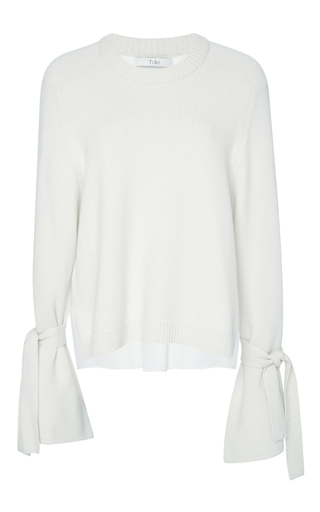 Medium tibi ivory pullover with tie sleeves and 4 ply combo