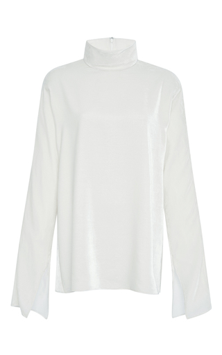 Medium tibi ivory silk velvet dolman turtleneck